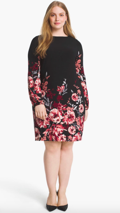 white house black market plus long sleeve floral shift dress