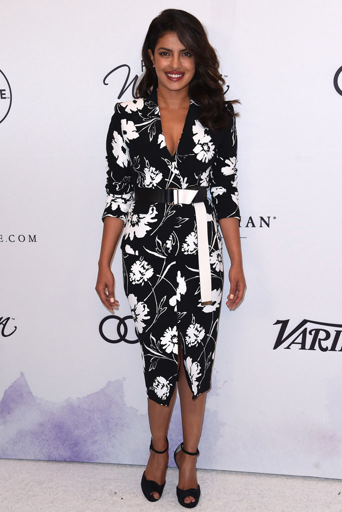 Priyanka Chopra in a Michael Kors black floral dress and Louboutin sandals