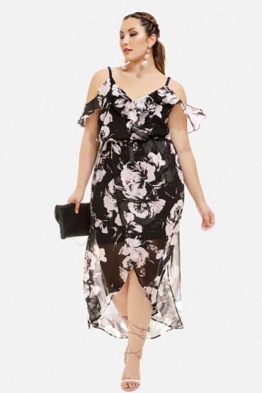 floral plus size cold shoulder wrap dress