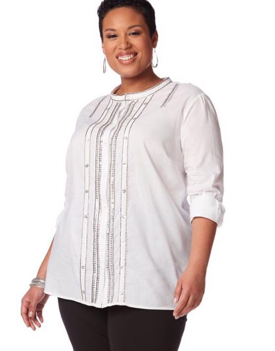embellished white plus size blouse