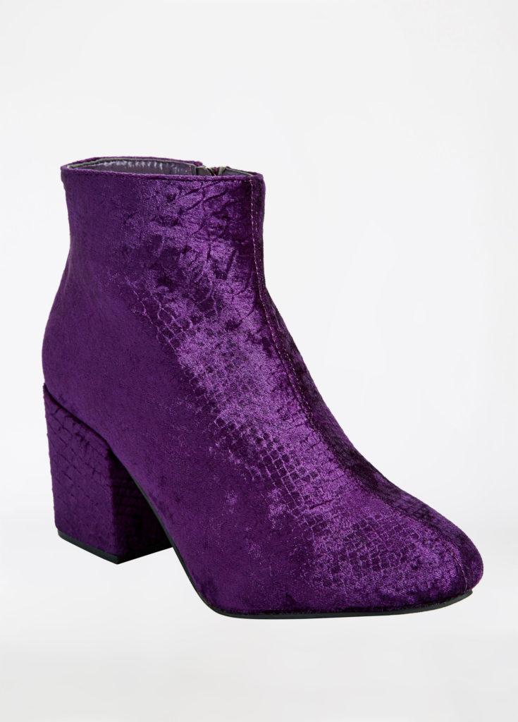 purple velvet croc bootie