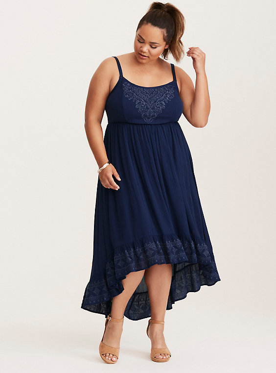 hi-lo plus size navy blue dress