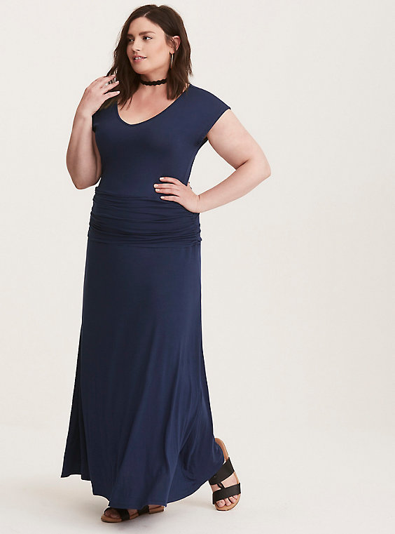 plus size navy blue maxi dress