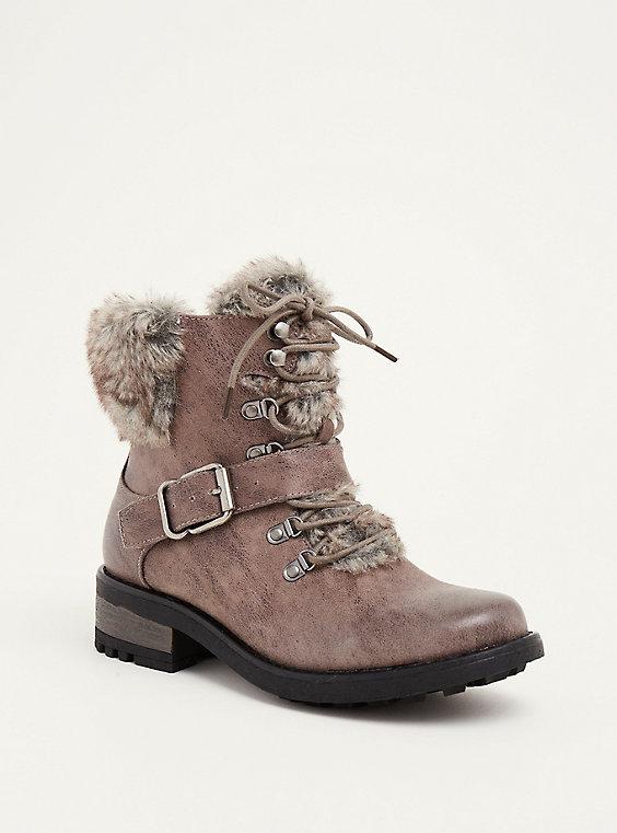 faux fur lace up combat boots wide width