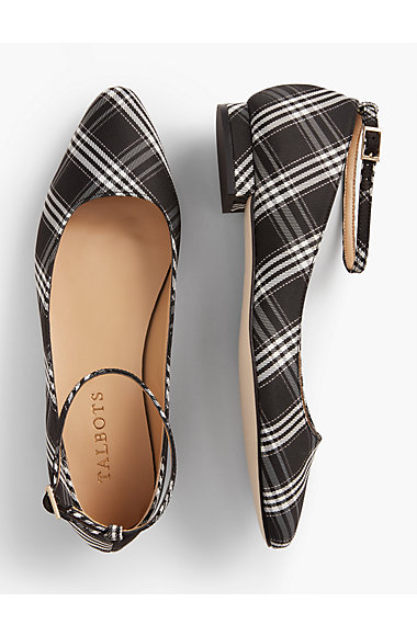 plaid ankle strap flats