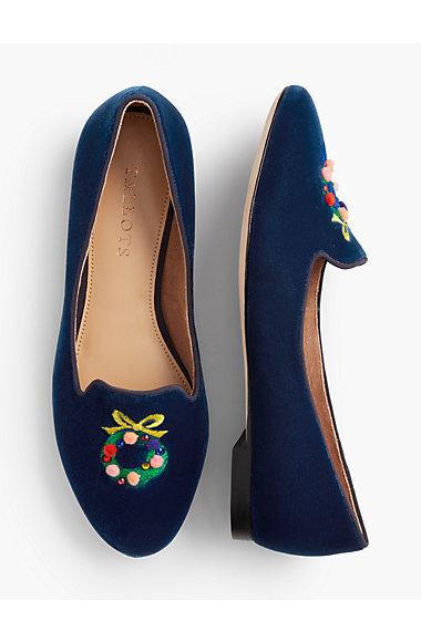 Ryan Wreath Velvet Loafers