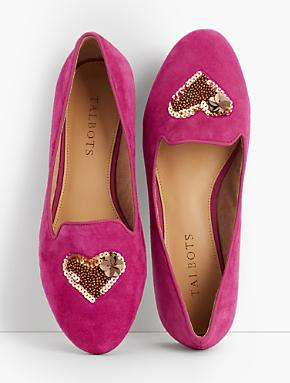 pink suede heart embellished flats from talbots