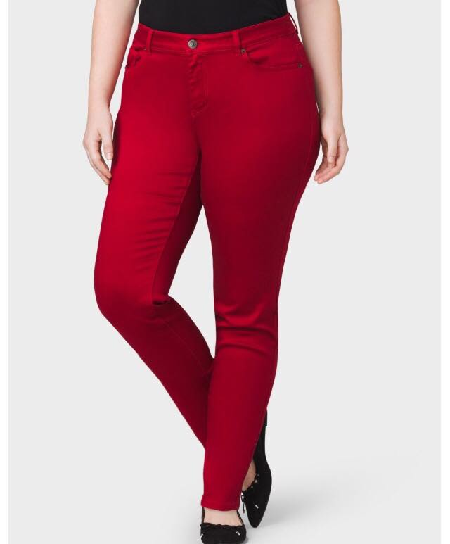 red plus size jeans