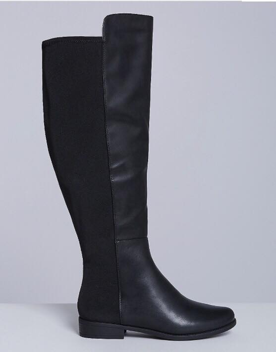 black wide calf boots