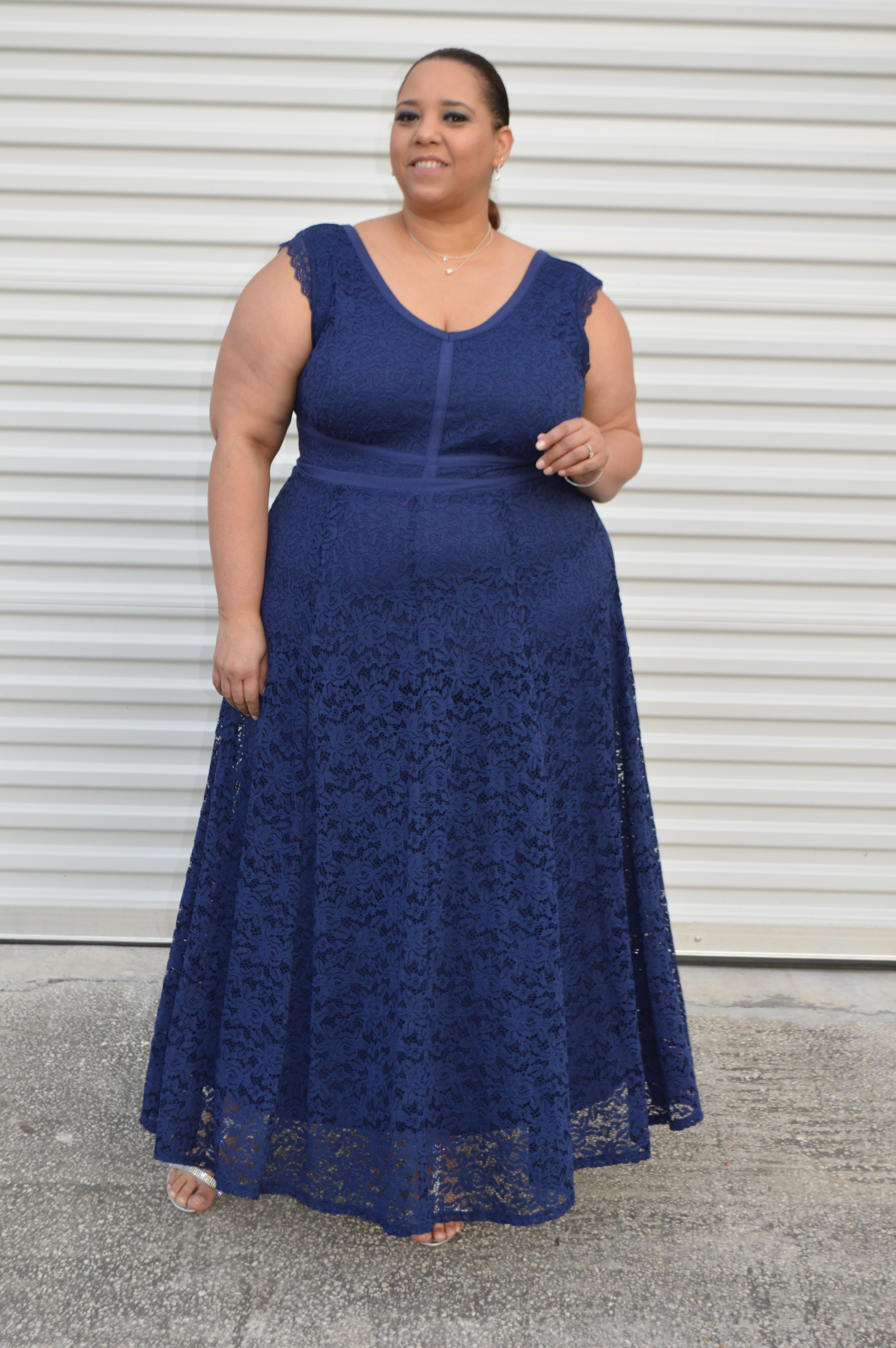 e5c77cf17083 Look Of The Day  Navy Blue Lace Maxi Dress From Torrid – Estrella ...