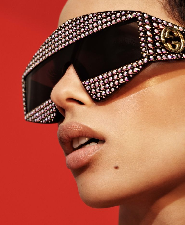 Zoe Kravitz wearing gucci sunglasses for elle magazine