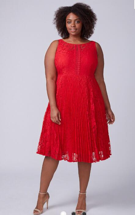 plus size pleated lace red dress