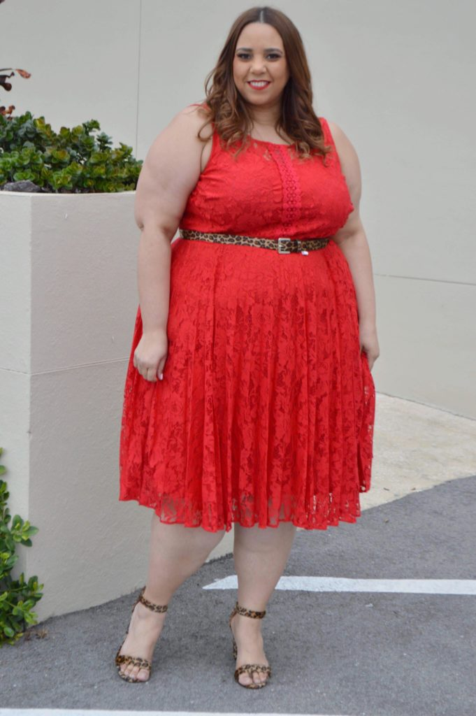red plus size fit and flare dress