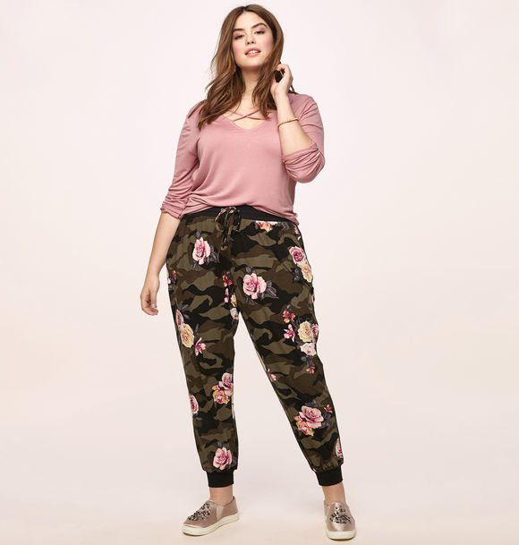 plus size pink floral camo print jogger from loralette