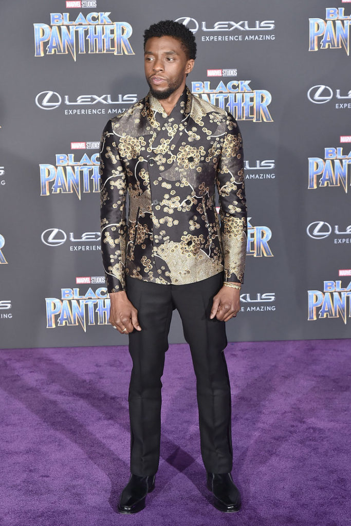 chadwick boseman at the lack panther premiere