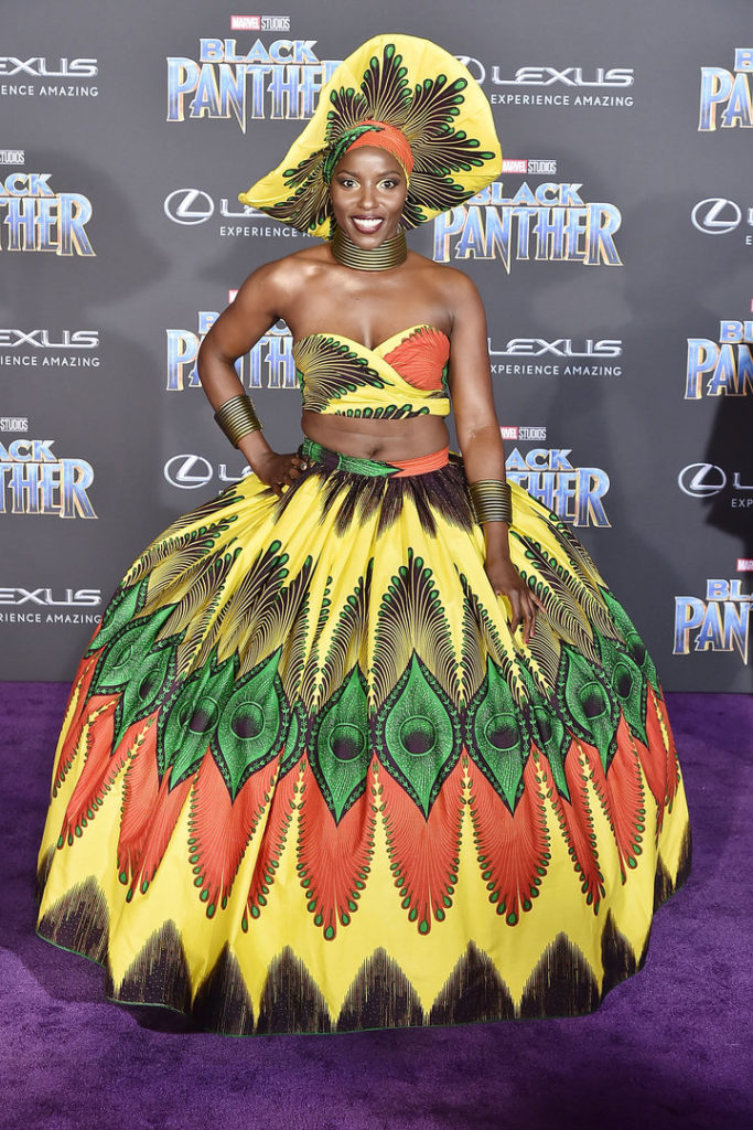 "Janeshia Adams-Ginyard attends the premiere of ""Black Panther"" on Jan. 29 in Hollywood."