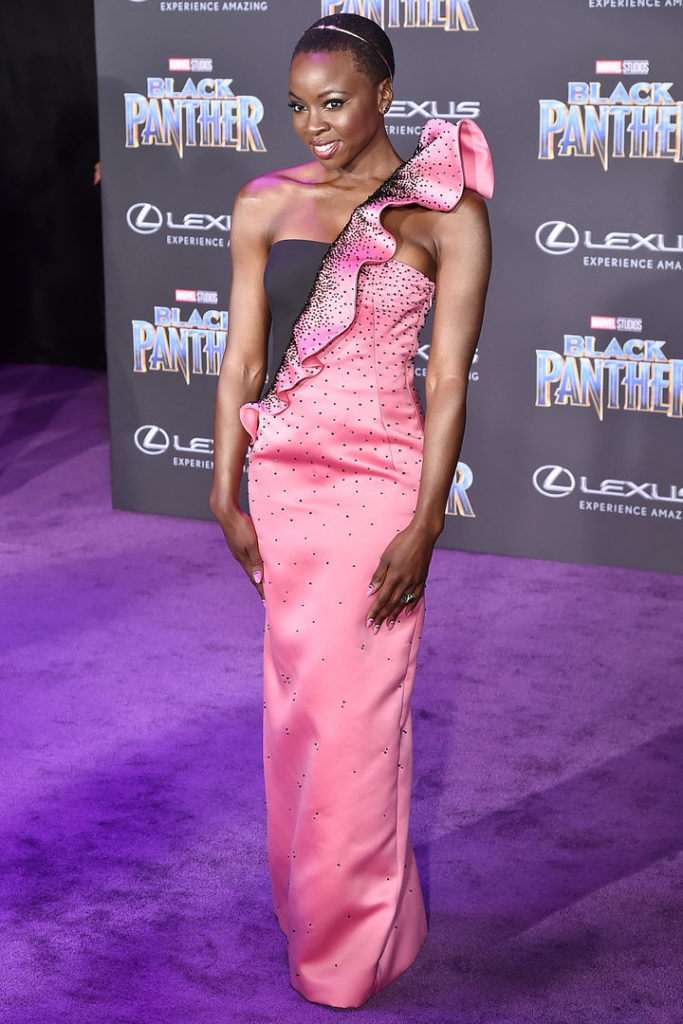 danai gurira at the premier of black panther