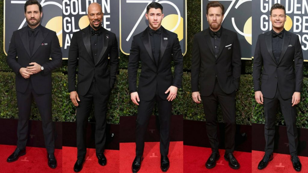 The men at the 75th annual Golden Globe Awards Red Carpet
