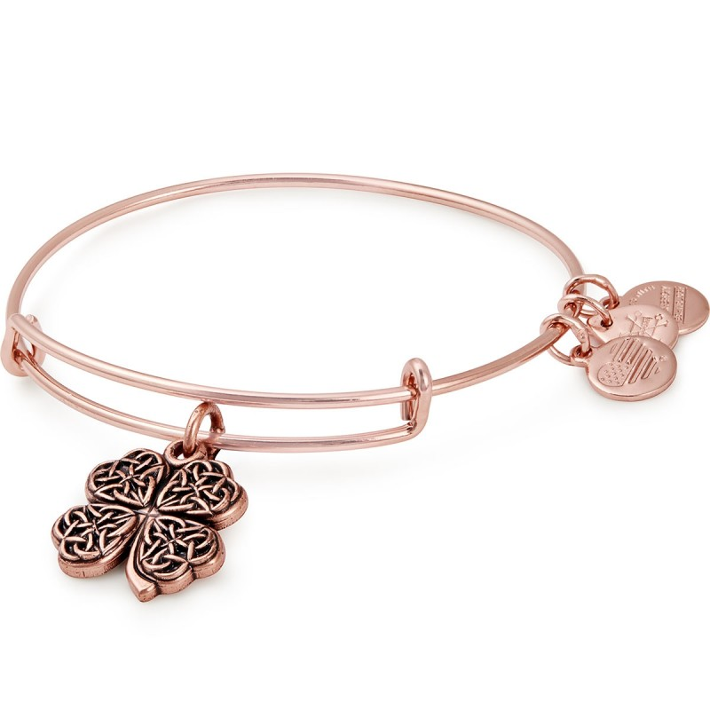 four leaf clover alex and ani bangle bracelet in rose gold