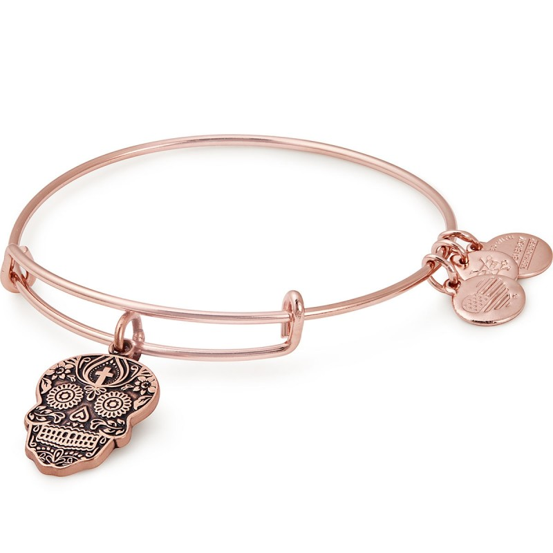 alex and ani calavera charm bangle in rose gold finish