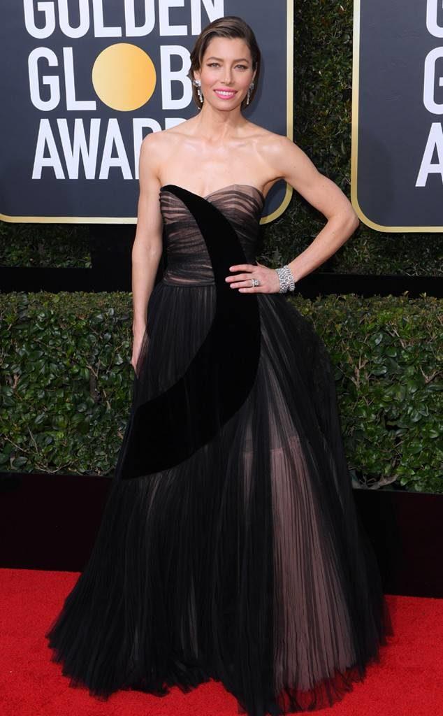 Jessica Biel in Dior at the 2018 Golden Globe Awards