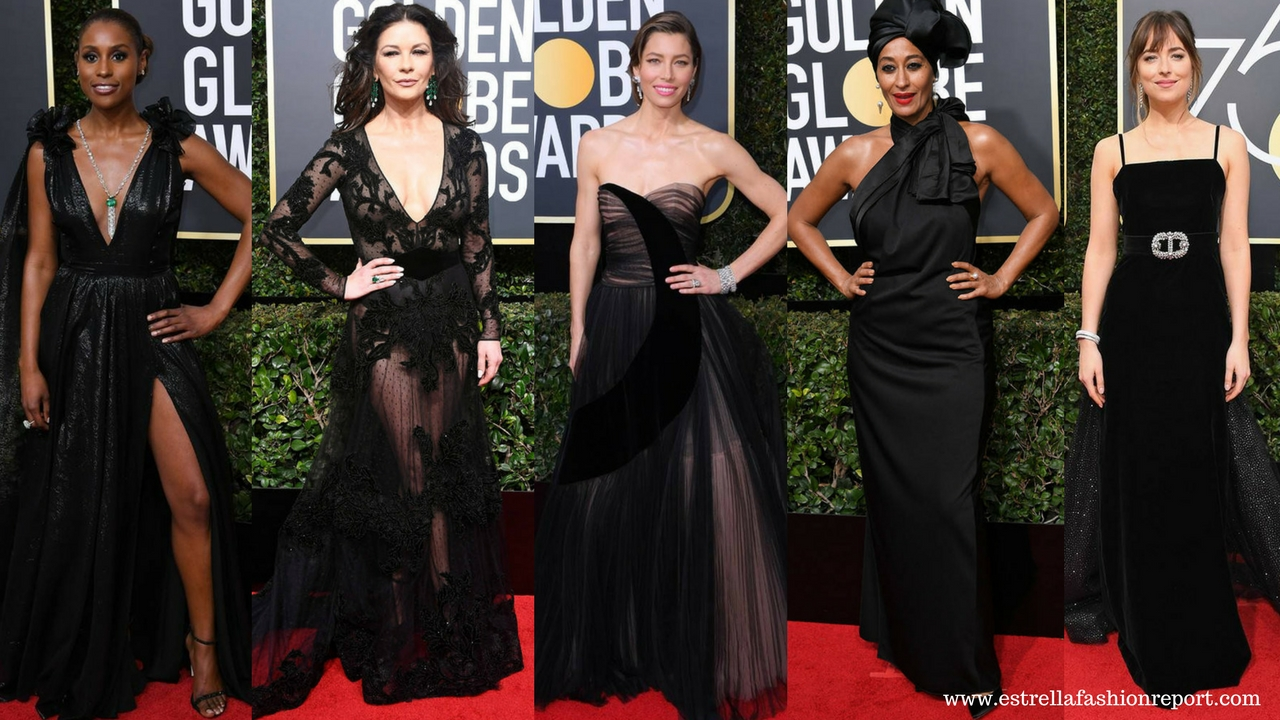 Hollywood Actresses Wear All-Black Looks To The 2018 Golden Globes ...