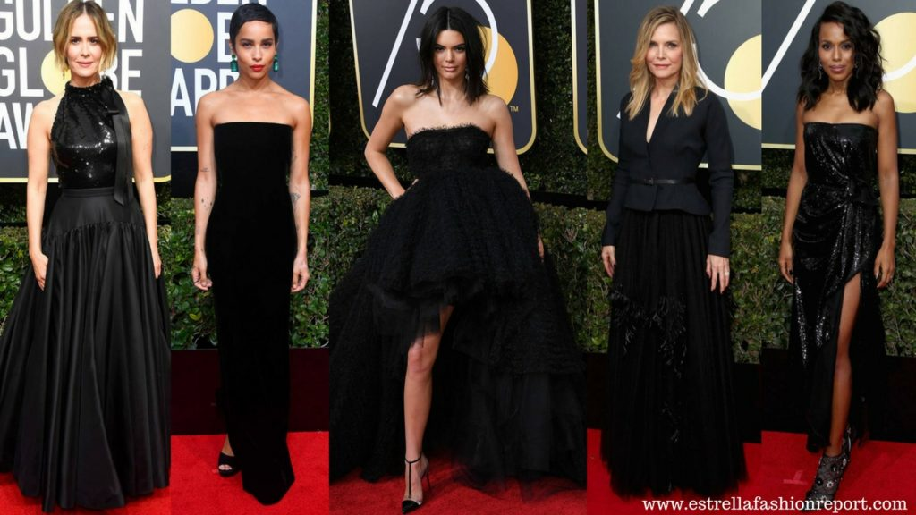 Hollywood Actresses Wear All Black Looks To The 2018 Golden Globes