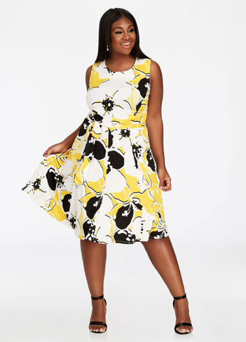 plus size belted fit and flare dress