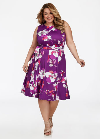 floral plus size fit and flare dress