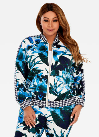 plus size printed jacket