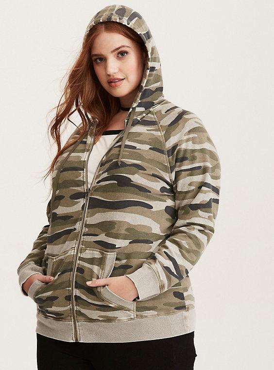 plus size camo print zip hoodie