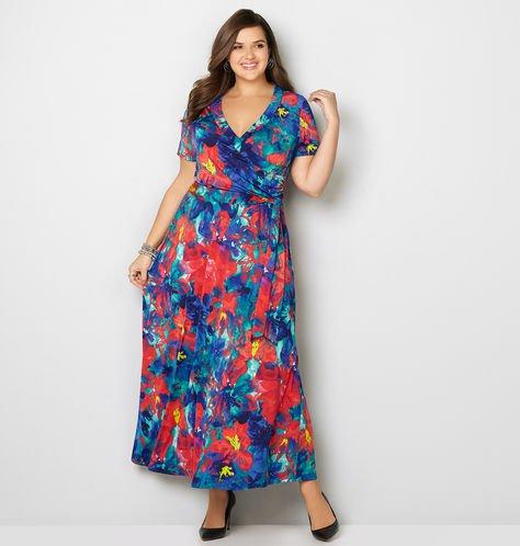 faux wrap watercolor print plus size maxi dress