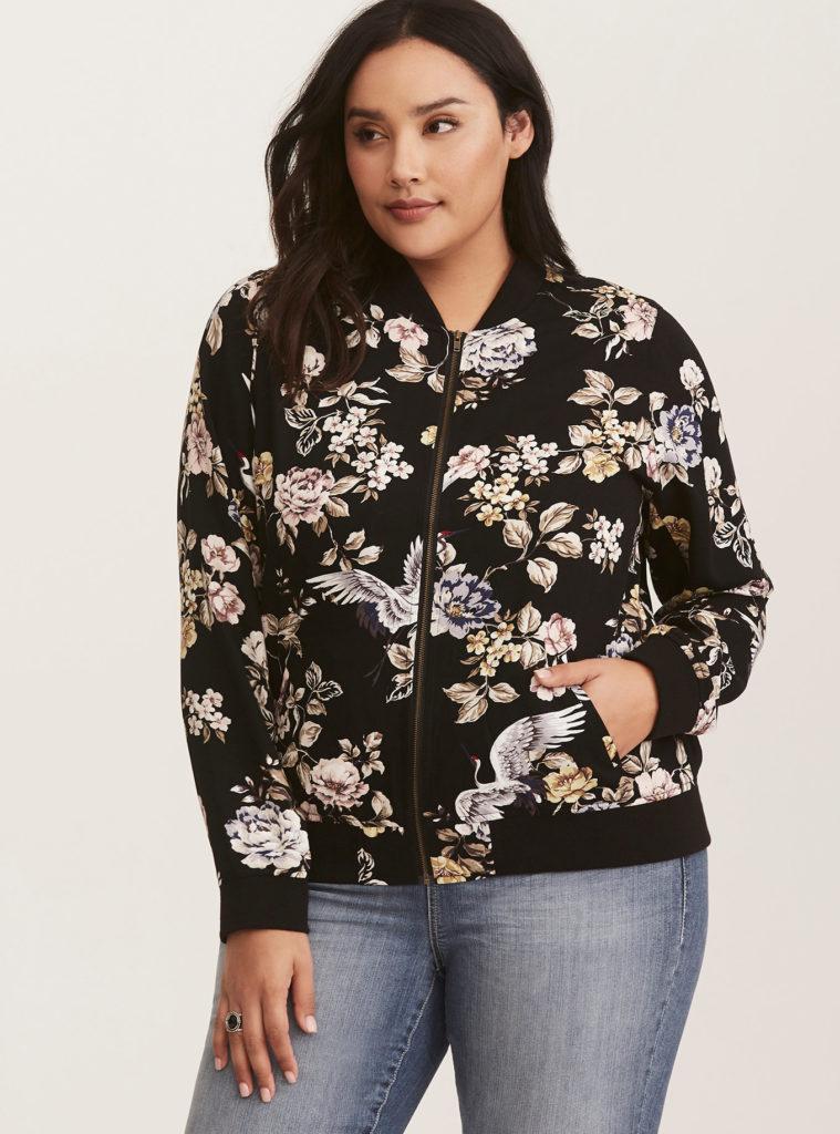 black floral plus size bomber jacket
