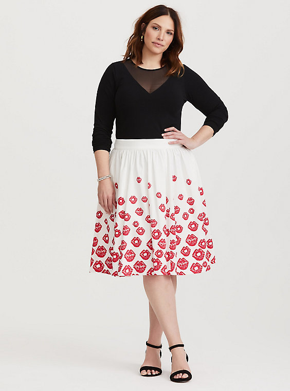 betty boops red and white lips midi skirt