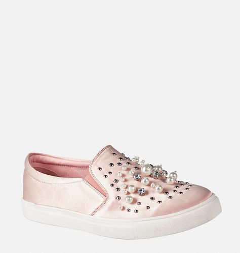 faux pearl sneakers in blush pink