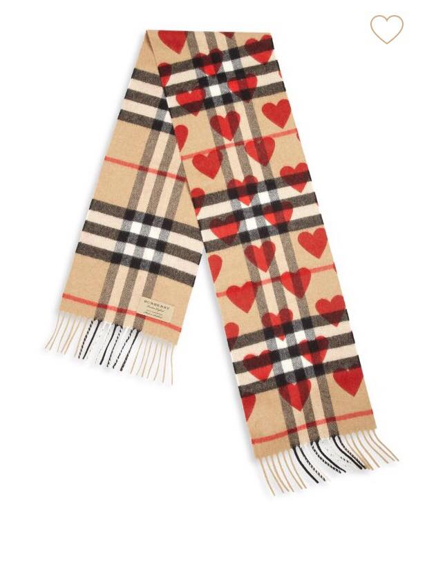 burberry heart print cashmere scarf