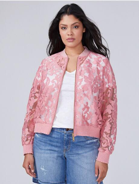 plus size pink lace bomber jacket from lane bryant