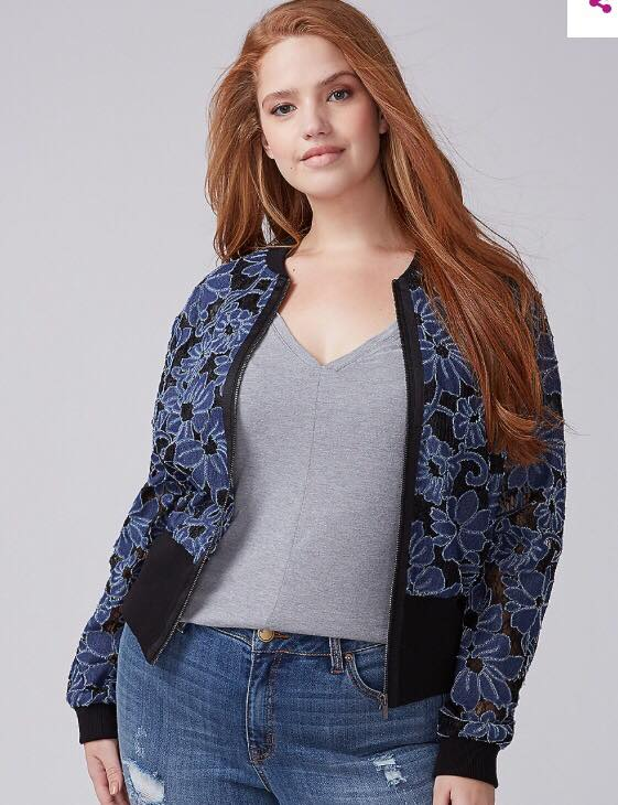 plus size denim floral bomber jacket