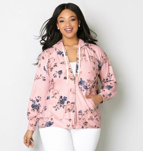 plus size zip front hoodie