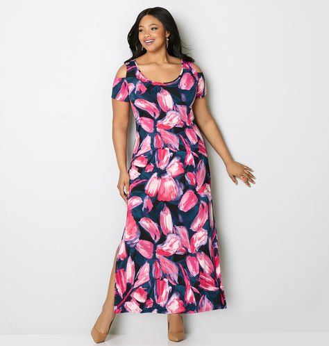 vestidos florales largos de talla grande