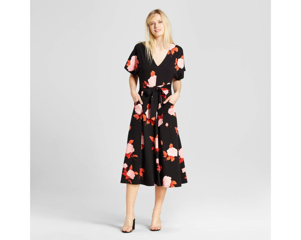 floral knit midi dress with pockets