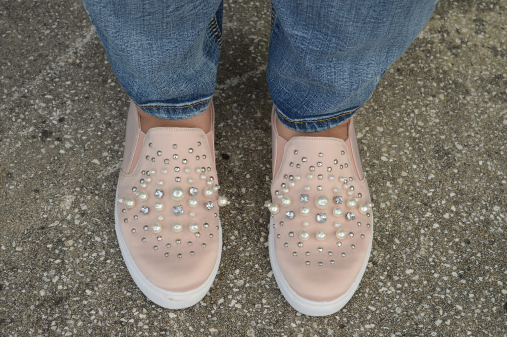blush pink sneakers with pearls embellishments
