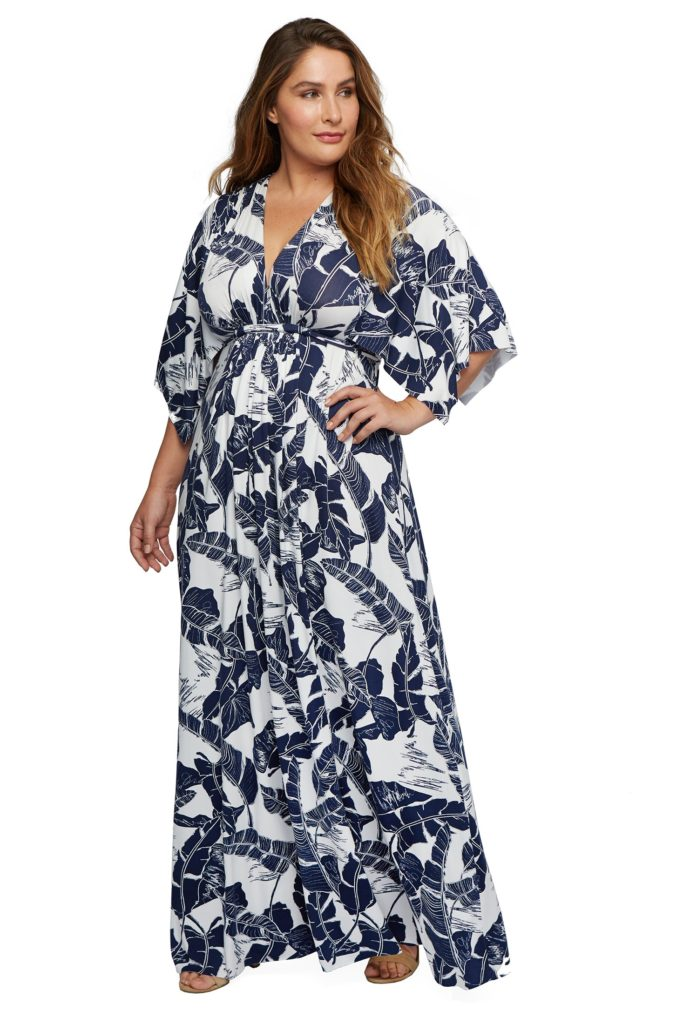 rachel pally plus size long caftan dress in palm print