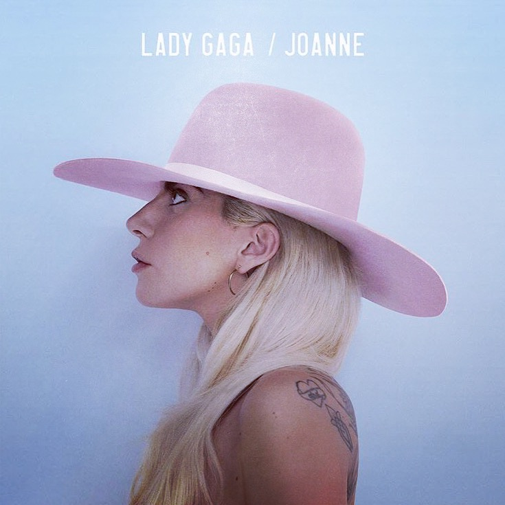 lady gaga joanne album cover wearing a gladys tamez pink hat
