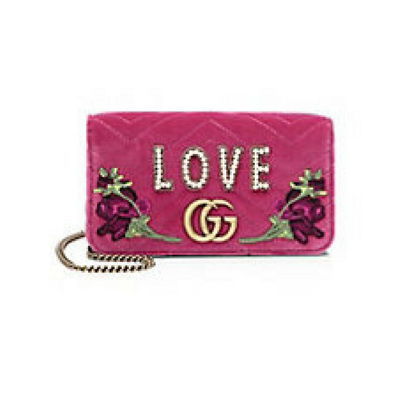 Gucci pink velvet clutch