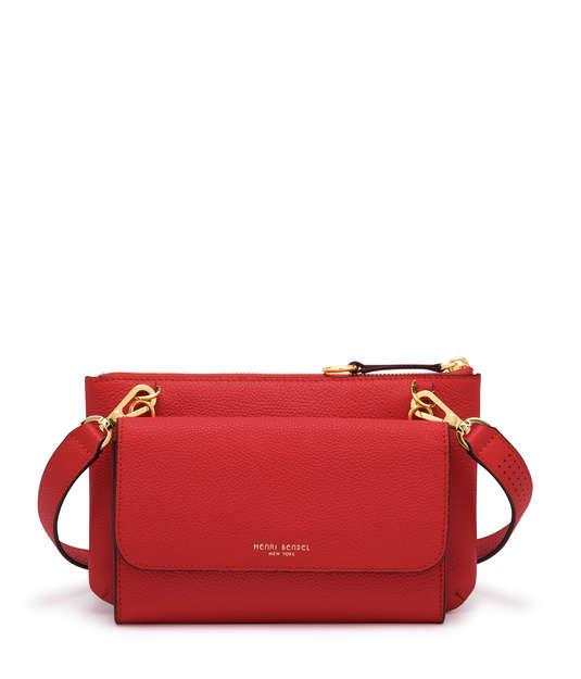 henri bendel influencer wallet on a string bag in red
