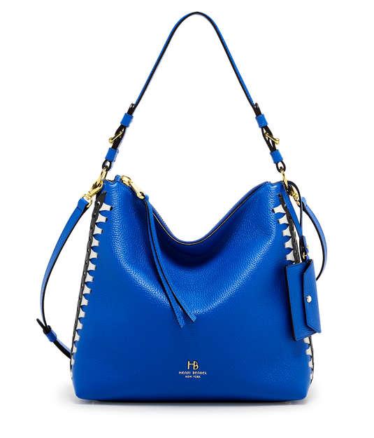 henri bendel noho laced gusset convertible hobo blue bag