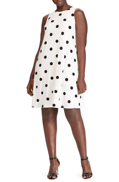 plus size polka dot A-line dress