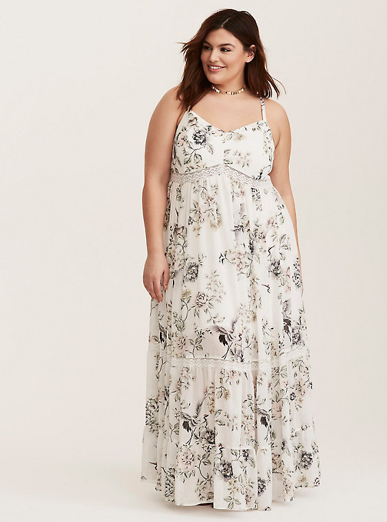 plus size tiered chiffon maxi dress ivory floral