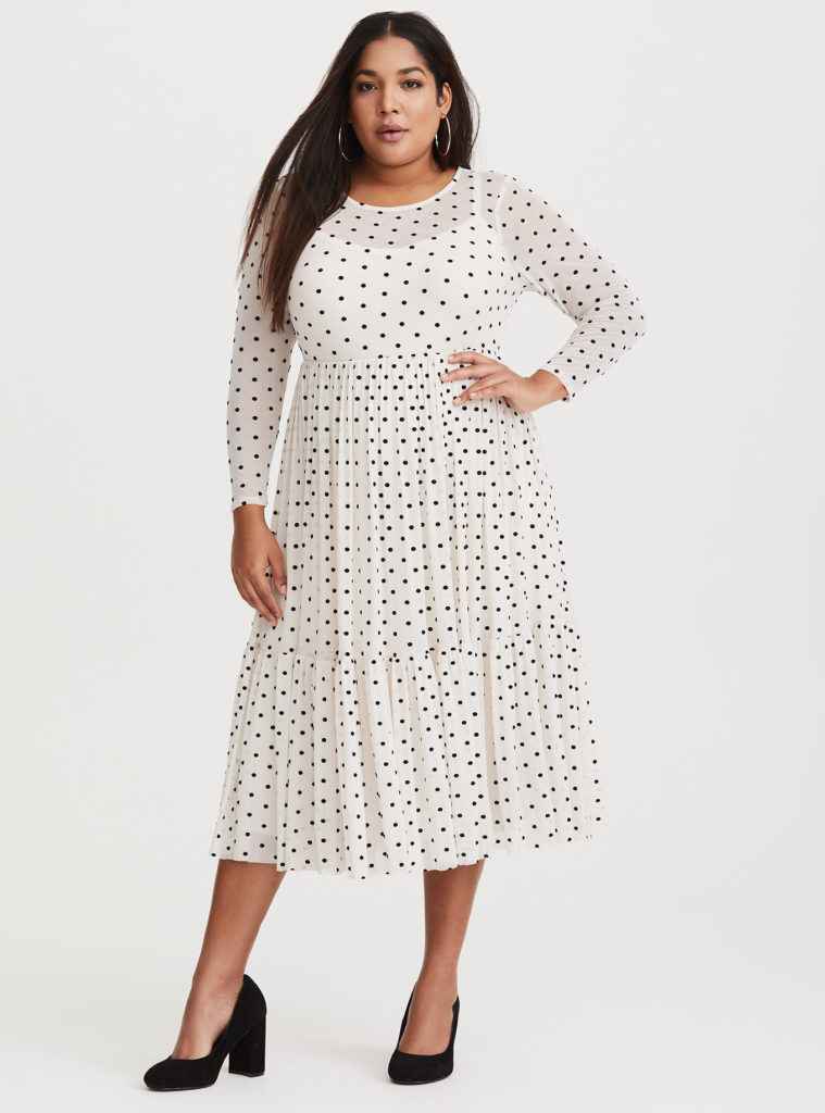 plus size ivory polka dot midi dress